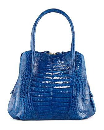 Crocodile Small Trap Tote Bag, Electric Blue