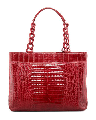 Large Crocodile Chain Tote Bag