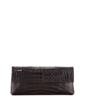 Soft Flap Crocodile Medium Clutch Bag, Chocolate