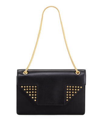 Betty Medium Studded Chain Shoulder Bag, Black