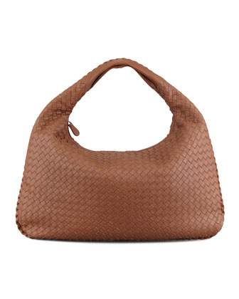 Woven Large Leather Hobo, Hazelnut Brown