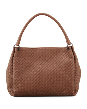 Large East-West Hobo Bag, Hazelnut Brown