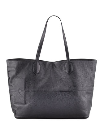East-West Stacked Logo Tote Bag, Black