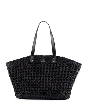 Megan Twisted Straw Tote Bag, Black
