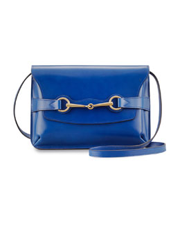Gucci Bright Bit Leather Shoulder Bag, Dark Blue