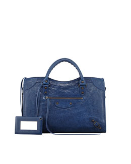 Balenciaga Classic City Bag, Blue Mineral