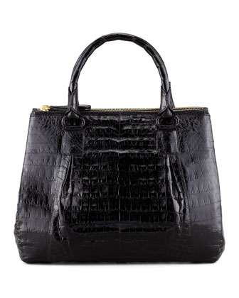 Mini Double-Zip Crocodile Tote Bag, Black