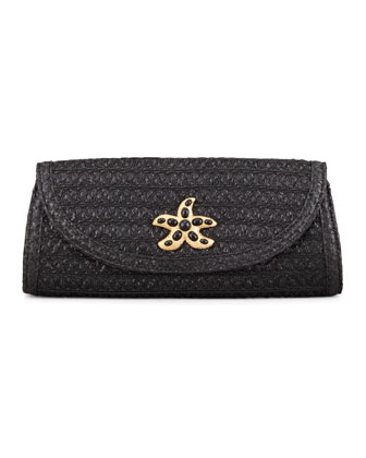 Paradise Woven Clutch Bag, Black