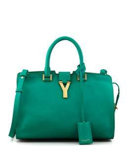 Saint Laurent Small Cabas Y-Ligne Leather Carryall Bag, Green