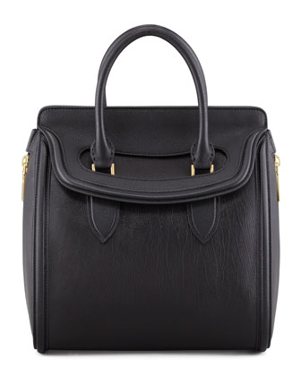 Heroine Medium Leather Satchel Bag, Black