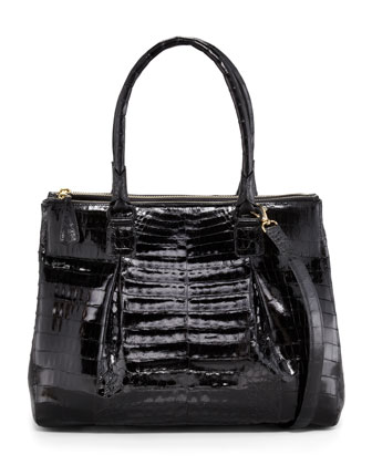 Crocodile Zip-Compartment Tote Bag, Large
