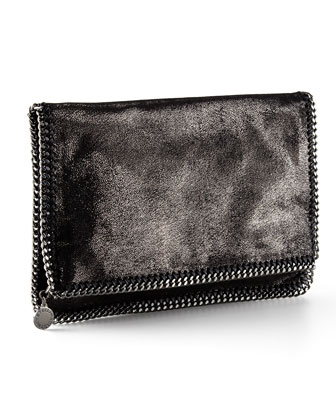 Falabella Fold-Over Clutch Bag, Gray