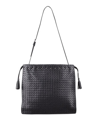 Large Drawstring Woven Shoulder Bag, Black
