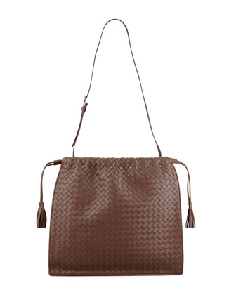 Large Drawstring Woven Shoulder Bag, Brown