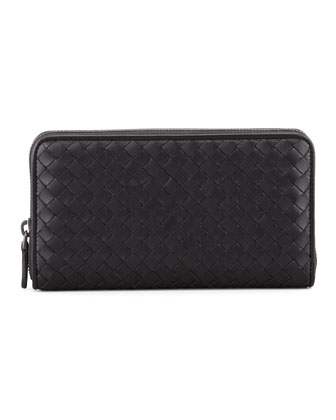 Woven Leather Continental Zip Wallet, Black