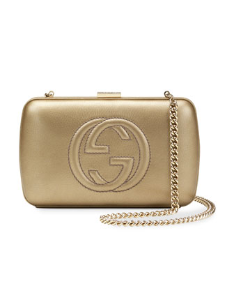 Broadway Metallic Leather Minaudiere Clutch Bag, Pale Gold