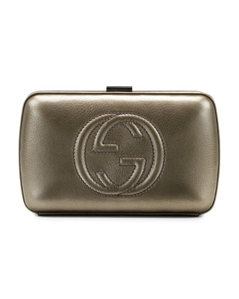 Broadway Metallic Leather Minaudiere Clutch Bag, Pewter