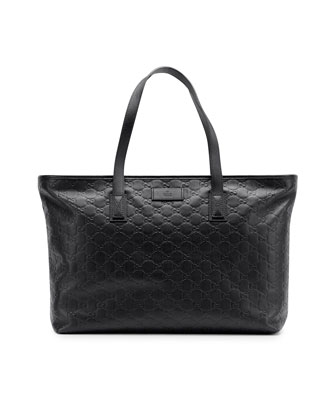Guccissima Leather Tote Bag, Black