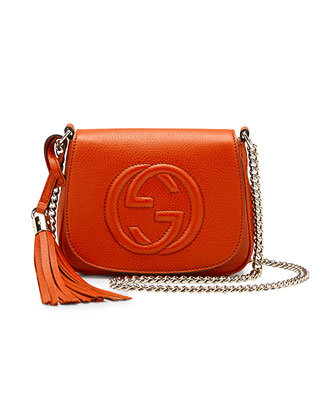 Soho Leather Chain Crossbody Bag, Deep Orange