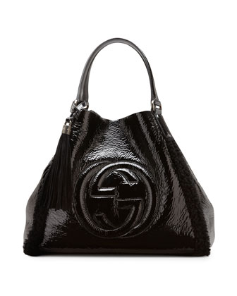 Soho Crushed Patent Leather Shoulder Bag, Black