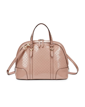 Microguccissima Patent Leather Dome Satchel Bag