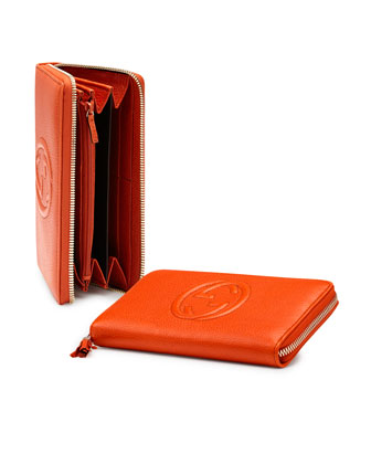 Soho Leather Zip-Around Wallet, Deep Orange