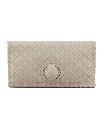 Full-Flap Turn-Lock Clutch Bag, Light Gray