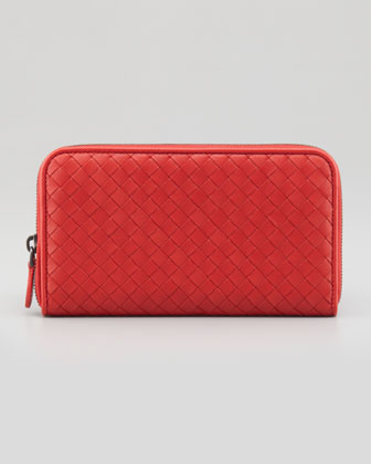 Continental Zip-Around Wallet, Red