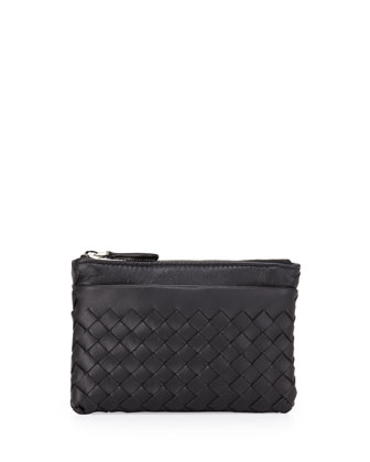 Zip-Top Woven Leather Key Pouch, Black