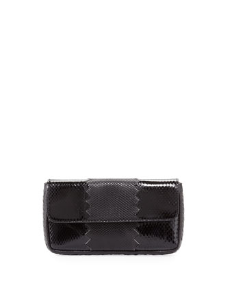 Snakeskin Tri-Fold Envelope Clutch Bag, Black