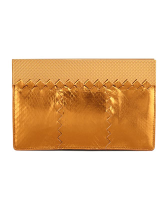 Metallic Snake Wallet Clutch Bag, Gold