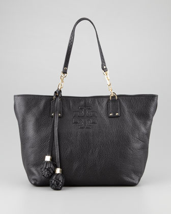 Thea Small Tassel Tote Bag, Black