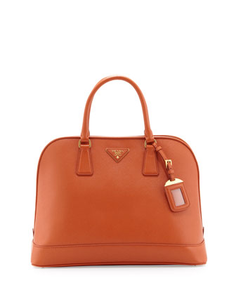 Saffiano Medium Open Promenade Tote, Orange