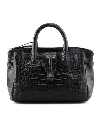 Cristina Small Crocodile Tote Bag, Black
