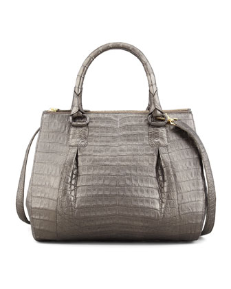 Small Double-Zip Crocodile Tote Bag, Gunmetal