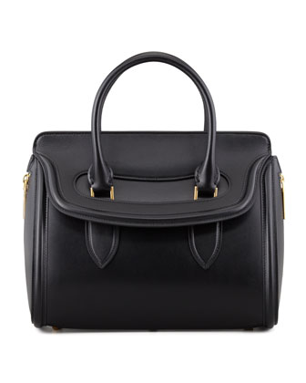 Heroine Small Calfskin Satchel Bag, Black