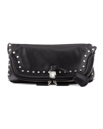 Studded Skull Padlock Fold-Over Clutch Bag, Black/Nickel