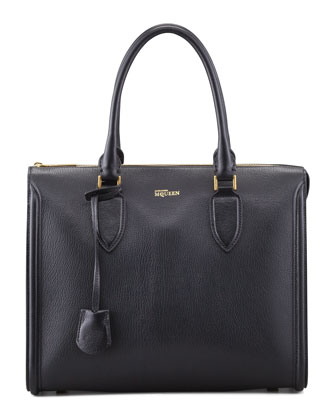 Heroine Grain Leather Zip-Up Tote Bag, Black