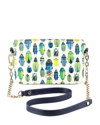 Kerrington Beetle-Print Mini Chain-Strap Bag