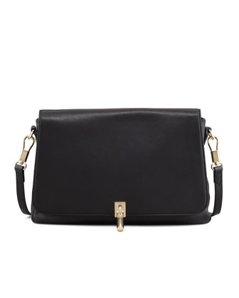Leather Mini Crossbody Bag, Black