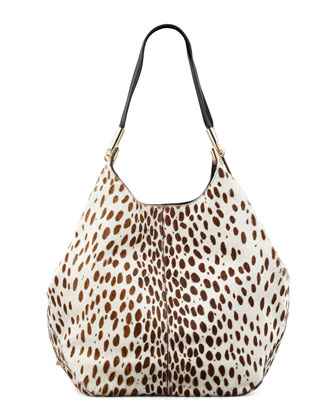 Spotted Calf Hair Shopper Tote Bag
