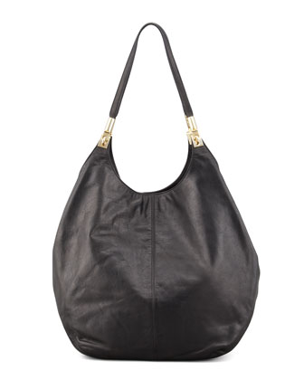 Leather Shopper Tote Bag, Black