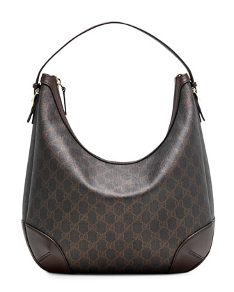 Gucci Nice GG Supreme Canvas Hobo Bag, Black