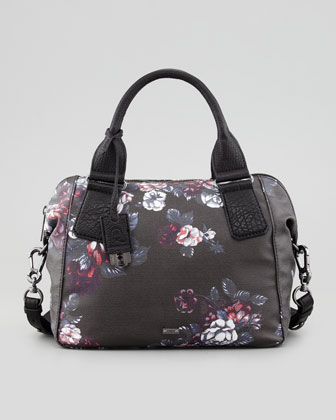 Red Churchill Floral-Print Satchel Bag