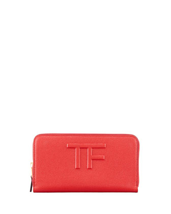 Large Logo Zip Wallet, Flame Red
