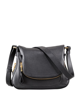 Jennifer Small Calfskin Crossbody Bag, Black