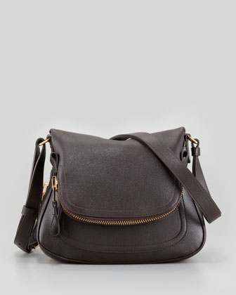 Jennifer Small Calfskin Crossbody Bag, Brown