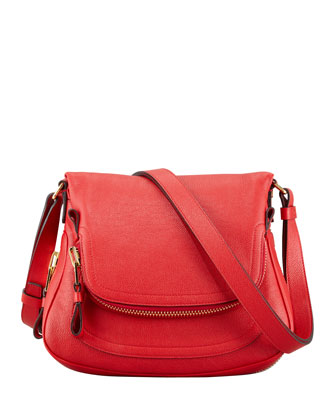 Jennifer Small Calfskin Crossbody Bag, Flame Red
