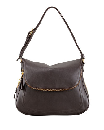 Jennifer Medium Leather Shoulder Bag, Brown