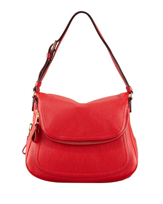 Jennifer Medium Calfskin Shoulder Bag, Flame Red